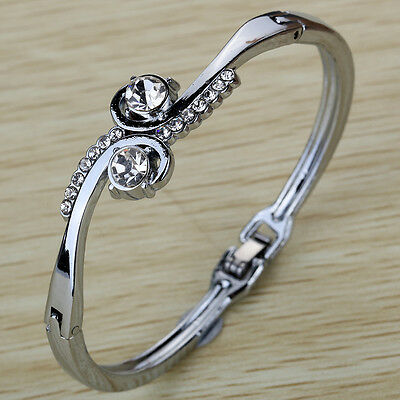 New Hot Silver Plated Curve Flower Crystal Bracelet Bangle Gift Lady