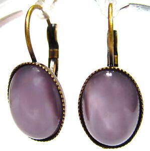 SoHo-Ohrhaenger-vintage-bohemia-glas-oval-14-10-flieder-moonstone-1970-s-lila