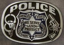 Pewter Belt Buckle Police Law Enforcement NEW