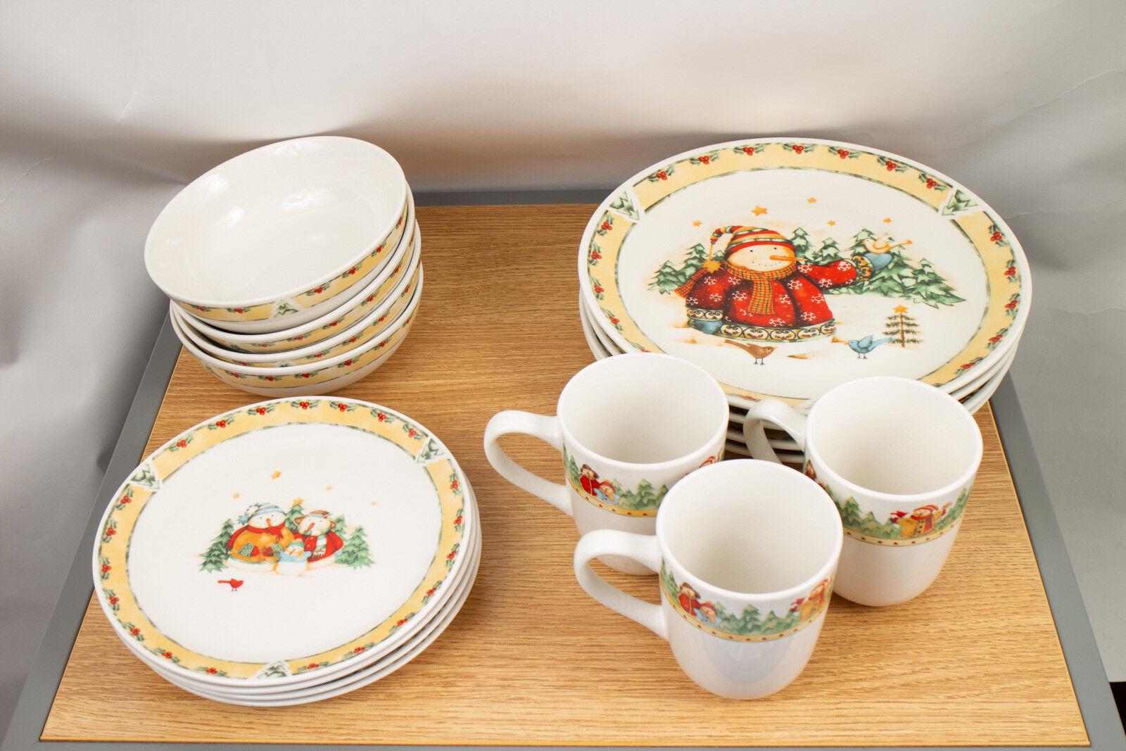 Target Home Brand Stoneware Christmas Dish Set - Snowman Frolic 15 Piece Set