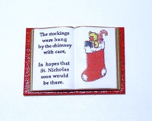 Dollhouse Open Christmas Poem Book Stocking Picture 1:12 Doll House Miniatures