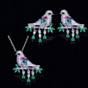 CWWZircons-Halskette-Ohrringe-Schmuck-Set-Wassertropfen-Gruen-CZ-Tier-Vogel-Sets