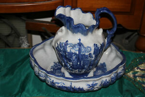 Large-Ironstone-Pottery-Blue-amp-White-Water-Pitcher-amp-Bowl-Victorian-Scenes
