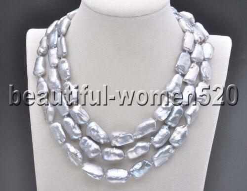 Z8218 20mm Gray BAROQUE DENS Biwa REBORN KESHI PEARL Necklace 48inch