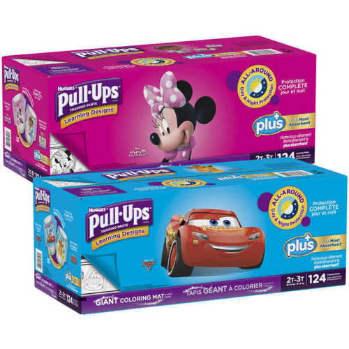 PICK SIZE 124 or 116 or 102 CT Huggies Pull-Ups Plus Boy or Girls Box Case