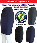women Plain navy blue midi ladies pencil skirt size 6 8 12 14 16 SK