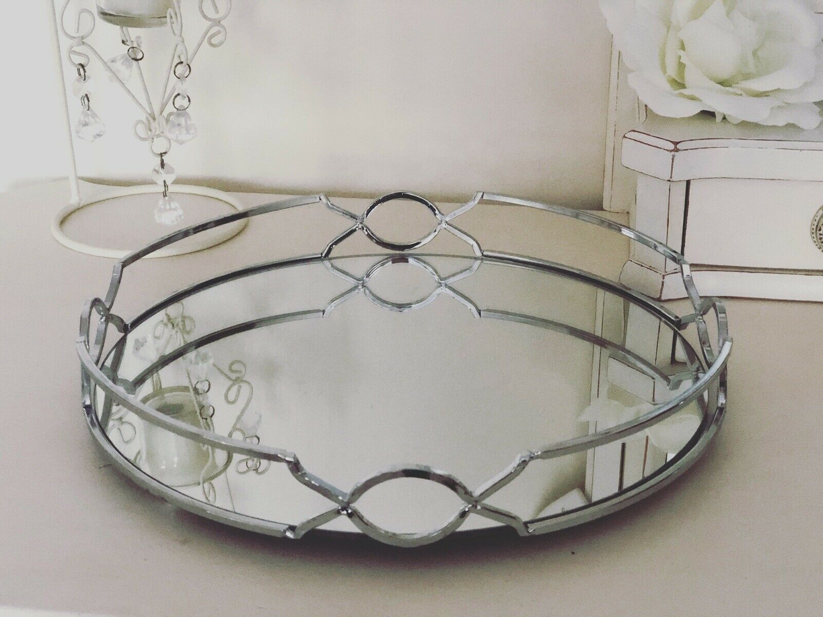 Gold Decorative Serving Tray Table Centre Piece Decor Candle Holder Plate 41cm For Sale Ebay
