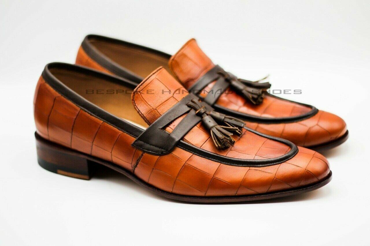 Men's Bespoke Handmade Genuine Calf Leather Crocodile Print Slip On Tassels scarpe