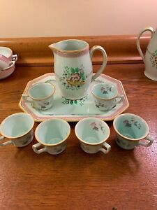Rare Hand Painted Calyx Ware Adams Tea Set W/ Creamer Pitcher & 12 X 9 Tray VGC