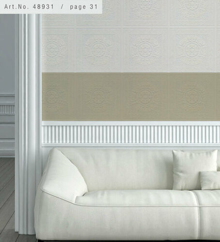 Relief Print Panel Paintable 48931 Wallpaper Sidewall White Norwall Wallcovering