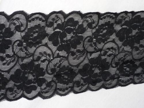 Black Flower Design Wide Stretch Lace Trim TLC156 BK Free P/&P