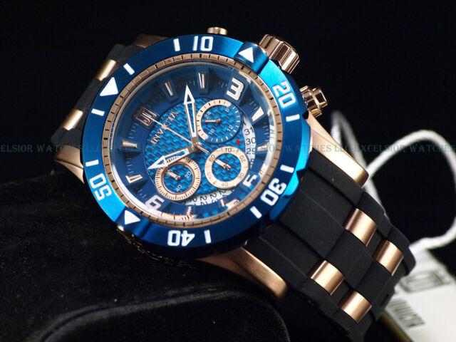New Invicta Mens 50mm Ltd.Ed. Jason Taylor Chrono 18K Rose Gold Blue Dial Watch