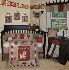Baby Boutique Western Cowboy 14 Pcs Crib Bedding Set Incl Music Mobile