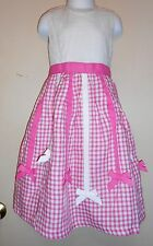 The Childrens Place Girls Ribbon Check Linen Dress Pink Four (4) NWT