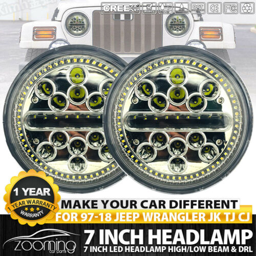 1Pair Slim 7 Inch 220W Round LED Headlights With Halo For 97-17 Jeep Wrangler JK