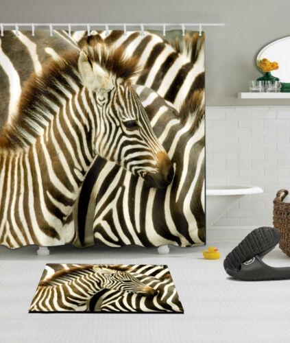 Tropical Zebra Fabric Shower Curtain Set Waterproof Curtains Bath Accessories