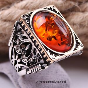 Turkish handmade 925 Sterling Silver orange amber stone Men man ring ALL SİZE us