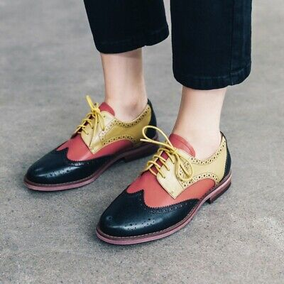 Oxford Women/'s ladies Brogue Med heels wing tip  Lace-up Casual dress Shoes#