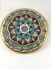 """Cearco Handpainted Small 6"""" Decorative Plate flowers 24k Made In Spain"""