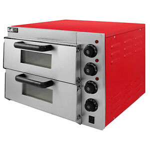 Forno Elettrico per Pizza in Acciaio Inossidabile a Doppio Ripiano Commerciale