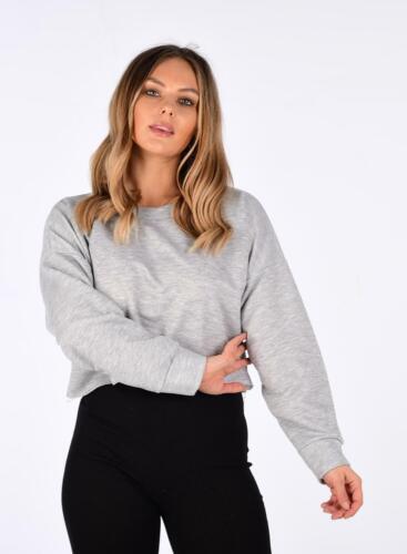 Damen Raw Edge Saum Langärmelig Bauchfrei Pullover Top Sweatshirt
