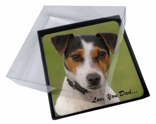 4x Jack Russell 'Love You Dad' Picture Table Coasters Set in Gift Box, DAD60C