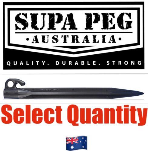 Price Each Tent Pegs SUPA PEG Poly Polypropylene Heavy Duty 300mm BLACK VALUE