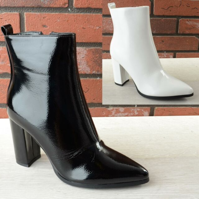 New Womens Ladies Pointed Toe Block Heel Zip Up Chelsea Ankle Boots Shoes Size