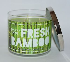 NEW-BATH-amp-BODY-WORKS-FRESH-BAMBOO-SCENTED-CANDLE-3-WICK-14-5-OZ-LARGE-GREEN