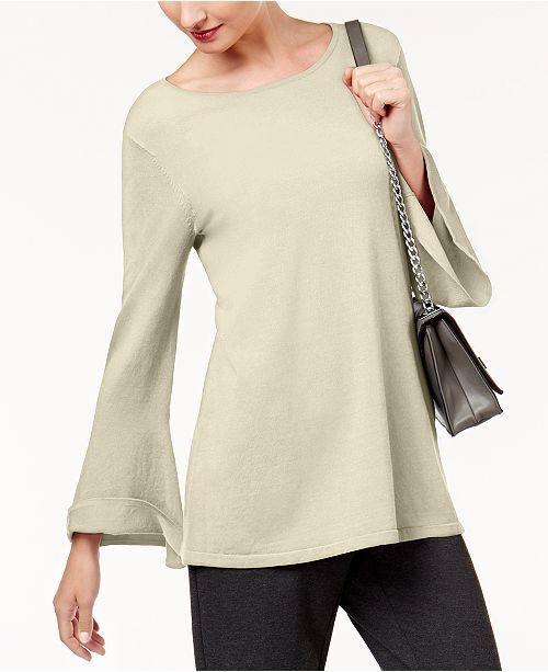 Alfani Women's Casual Bell Sleeves Tunic Top () Beige XL