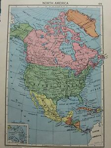 1942 MAP NORTH AMERICA CANADA UNITED STATES MEXICO WEST INDIES
