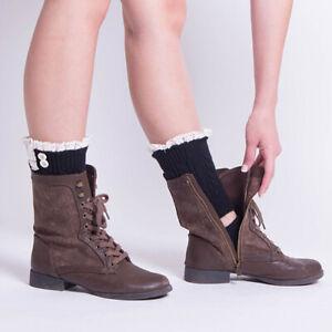 KE/_ Women Winter Solid KnitLeg Warmers Crochet Boot Socks Toppers Cuffs Ne
