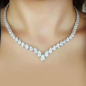 Beautiful-40Ct-Pear-Cut-Diamond-Tennis-Necklace-14K-White-Gold-Over-Solid-Silver