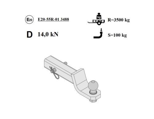 Für Chrysler Voyager Anhängerkupplung Adapter US-Fahrzeuge gerade 51x51mm Kugel