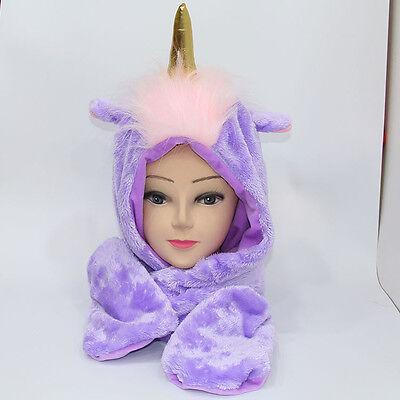 Little twin stars unicorn pink fuzzy warm hat scarf glove gift hats cap cool
