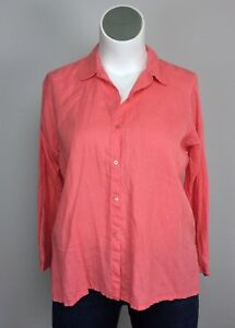 Eileen-Fisher-Petite-L-Coral-Pink-Irish-Linen-Button-Down-Top-Shirt-Blouse-PL