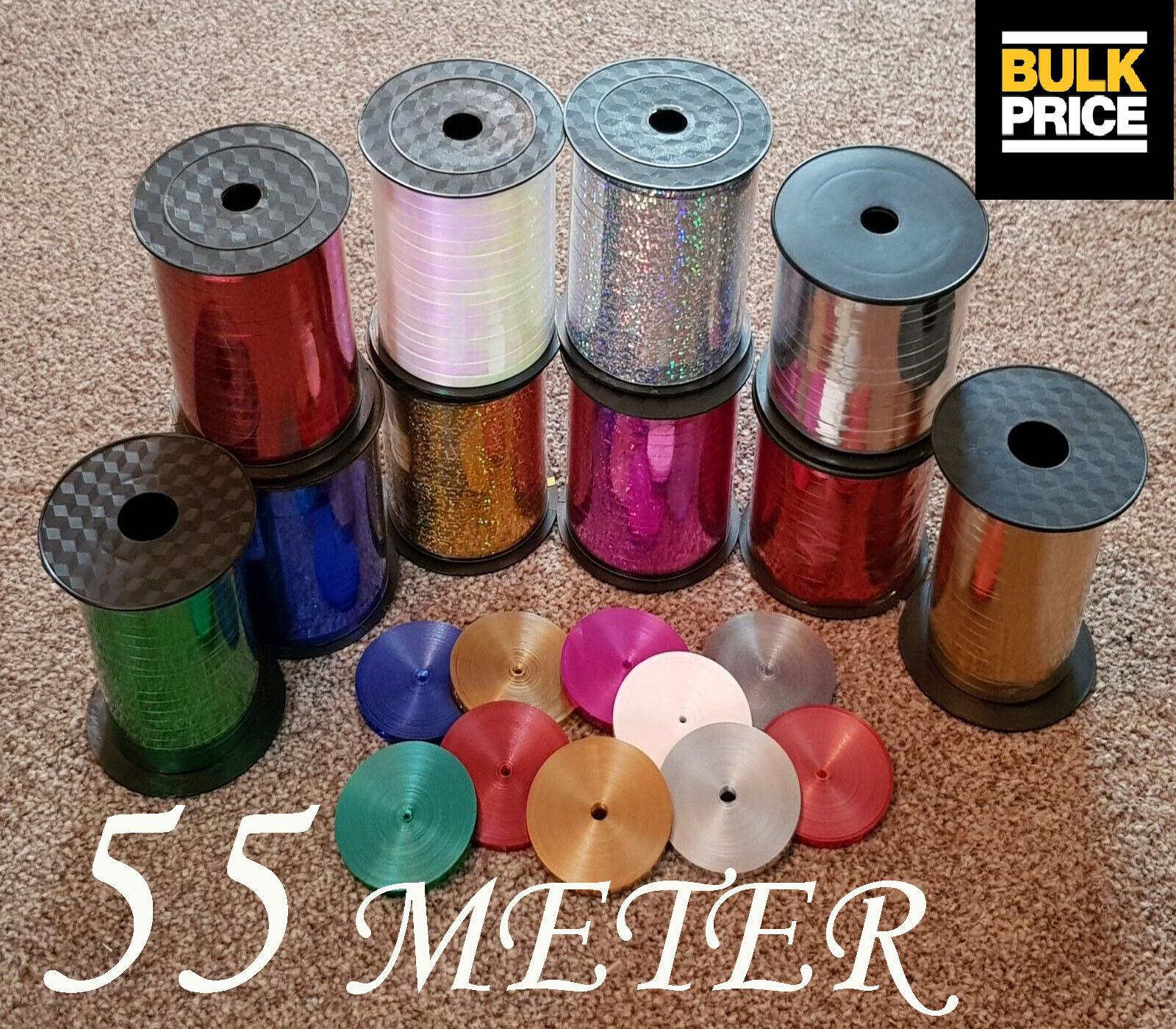 METALLIC CURLING RIBBON - ALL FarbeS - PRE-CUT IN 55 MTR x 5 MM  OR 500 MTR ROLL