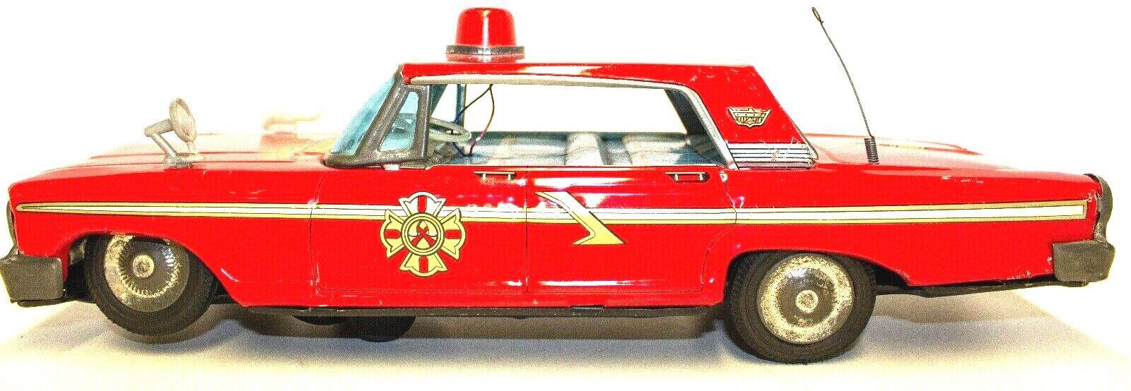 Vintage Japanisch Dose Batteriebetrieben 597mS Ford Galaxie 4-DOOR Feuer