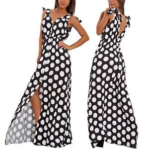 Vestito-donna-lungo-pois-pinup-scollato-spacco-abito-elegante-bottoni-WD-8615