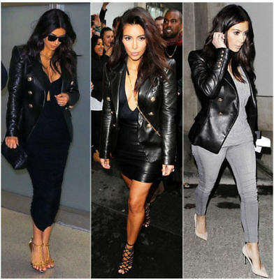 WOMEN LADIES DOUBLE BREASTED REAL LEATHER BLAZER COAT INSPIRED BY KIM KARDASHIAN