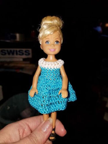 bright blue Kelly Mattel doll clothes Hand crocheted Chelsea