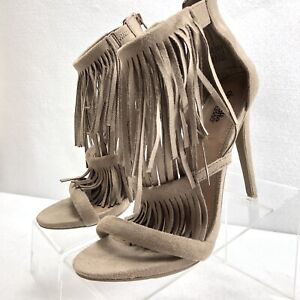 Charlotte-Russe-Women-039-s-Fringed-Strappy-Stiletto-Sandal-Sz-8-Great-Condition