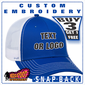6ce7d140872cf8 Image is loading Personalized-CUSTOM-Embroidery-Trucker-Mesh-Snapback-HATS- CAPS-