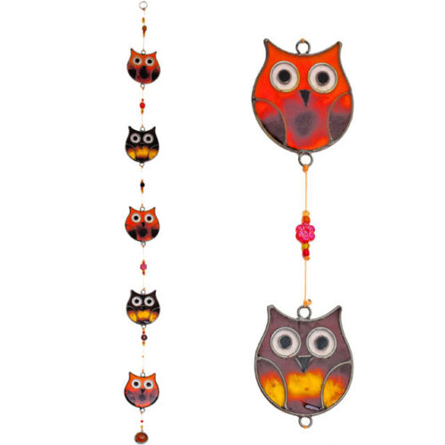 FIVE TAWNY OWLS SUN CATCHER ~ OWL MOBILE ~ STAINED GLASS EFFECT ~  HOME~GARDEN ~