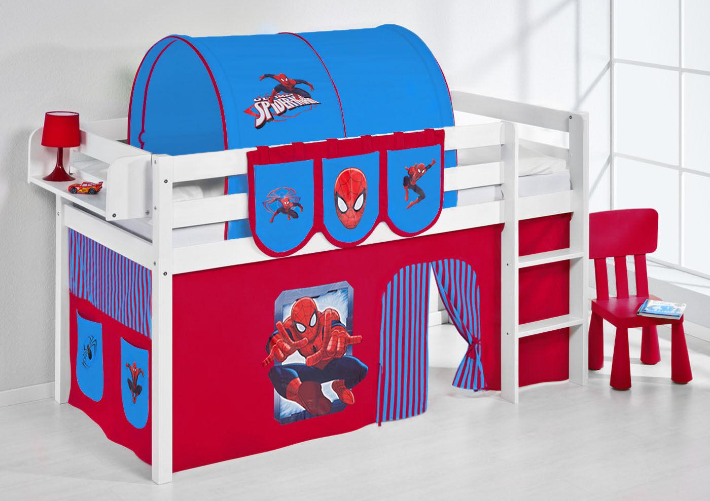 Lit Mezzanine de Lit Lit D'Enfant Jelle 190x90 cm Blanc Enfants Lilo Spiderman
