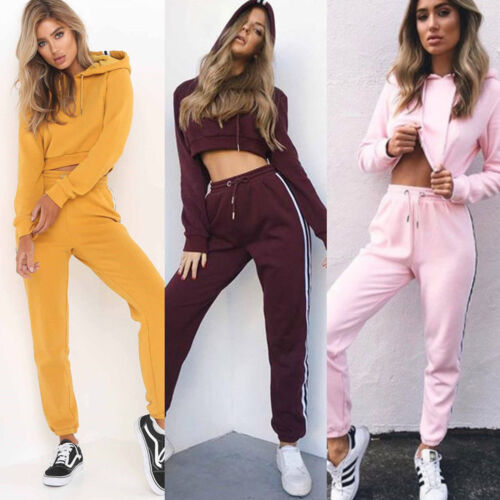 Details about  /Women Cropped Tops Hooded Workout Tracksuit Sweatshirt Set Gym Sport Pants Suit
