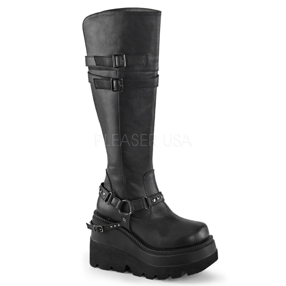 Demonia 4.5  Cuña Plataforma Knee Knee Knee High Negro Hebilla Correa botas 6 7 8 9 10 8fe5e8