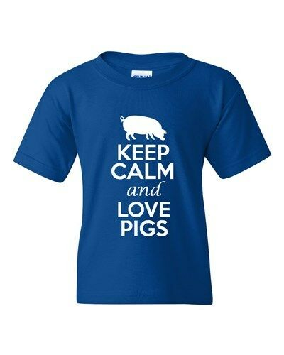 Keep Calm And Love Pigs Animals Novelty Statement Youth Kids T-Shirt Tee
