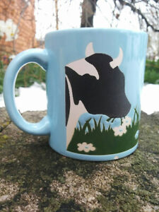 Vintage WAECHTERSBACH West Germany Black White COW in Meadow MUG Blue 1 CHIP