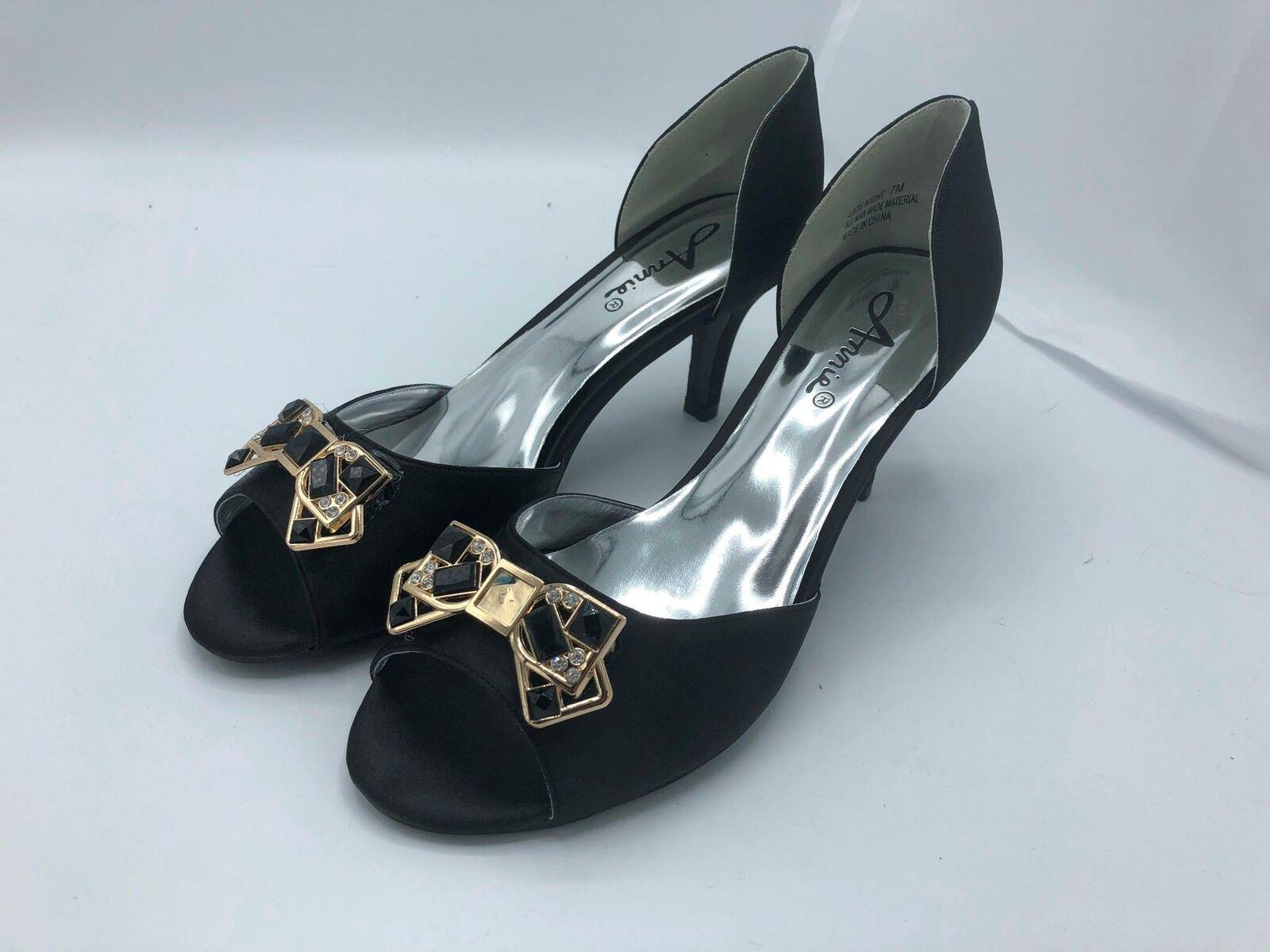 Annie Shoes Late Night Peep-Toe Pumps (1963) Black Satin Size 7M